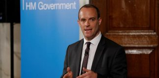 Brexit Secretary Dominic Raab outlined the government's plans for a no-deal Brexit in a speech in London, Britain. Aug 23, 2018.