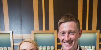 Laura Foreman, Fundraising Manager for Macmillan, joins Baxters' Chef and Group Innovation Manager Darren Sivewright in the kitchen at the food group's headquarters in Edinburgh