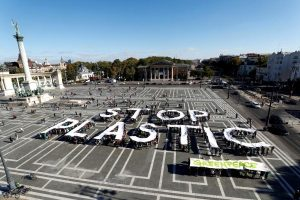 Greenpeace holds a demonstration against plastic waste