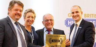 Crickhowell High Street winners receive their certificate as overall winner of the Great British High Street Awards 2018